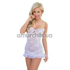 Комплект Francesca белый: комбинация + трусики-стринги - Фото №1
