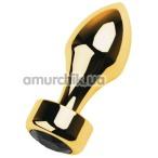 Анальная пробка с черным кристаллом Toyfa Metal 717033-5, золотая - Фото №1