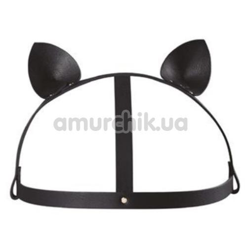 Маска Кошечки Bijoux Indiscrets Maze Head Harness With Cat Ears, черная - Фото №1