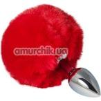 Анальная пробка с красным хвостиком sLash Honey Bunny Tail S, серебряная - Фото №1