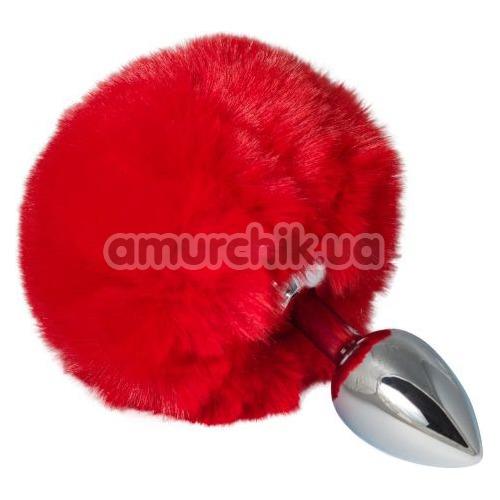 Анальная пробка с красным хвостиком sLash Honey Bunny Tail S, серебряная