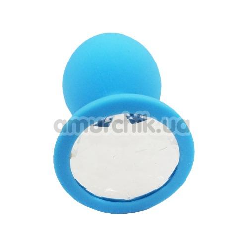 Анальная пробка с прозрачным кристаллом SWAROVSKI Пикантные Штучки Large, голубая