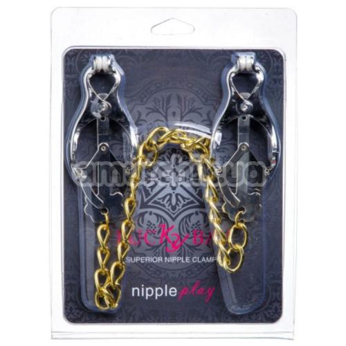 Зажимы для сосков японские с цепочкой Lucky Bay Nipple Play Gold Chain, серебряные