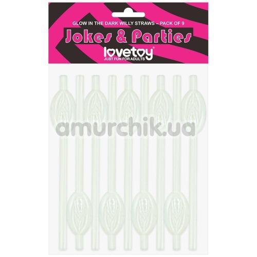 Трубочки для напитков LoveToy Jokes&Parties Glow In The Dark Willy Pussy Straws, светящиеся в темноте 9 шт - Фото №1