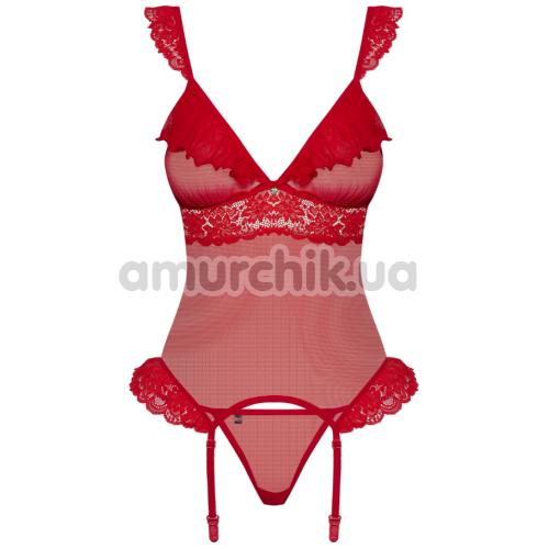 Комплект Obsessive 863-COR-3 красный: корсет + трусики-стринги