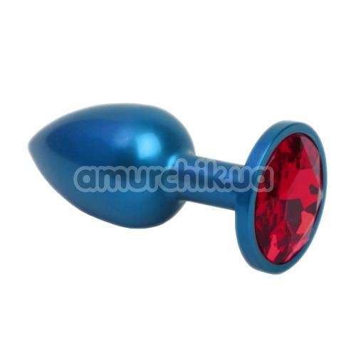 Анальная пробка с красным кристаллом SWAROVSKI Zcz, синяя матовая