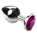 Анальная пробка с розовым кристаллом SWAROVSKI Silver Pink Middle, серебряная - Фото №1