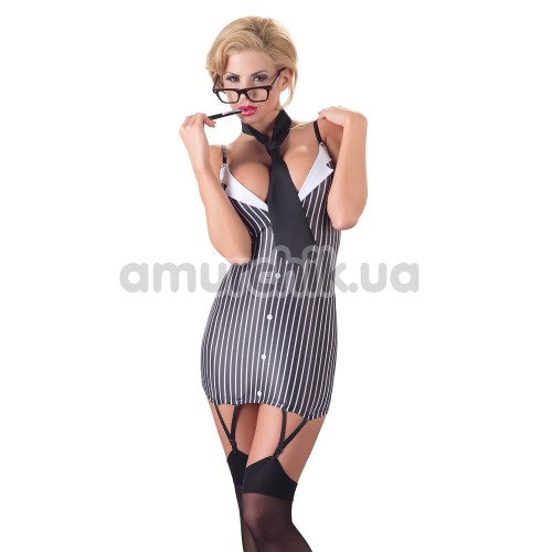 Костюм секретарши Cottelli Collection Costumes чёрно-белый: платье + галстук - Фото №1