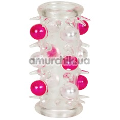 Насадка на пенис Beaded Penis Sleeve с розовыми бусинами - Фото №1