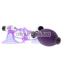 Вакуумные стимуляторы для сосков с вибрацией Hi-Beam Vibrating Nipple Pumps, фиолетовые - Фото №1