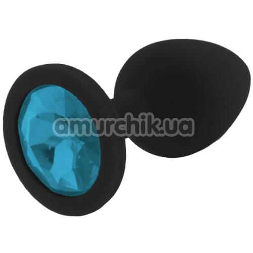 Анальная пробка с голубым кристаллом RelaXxxx Silicone Plug Medium, черная - Фото №1