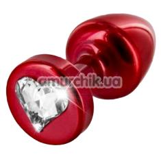 Анальная пробка с прозрачным кристаллом SWAROVSKI Anni R Heart T2, красная - Фото №1