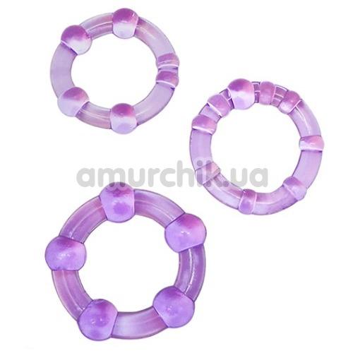 Набор эрекционных колец Stay Hard Beaded Cockrings, фиолетовый