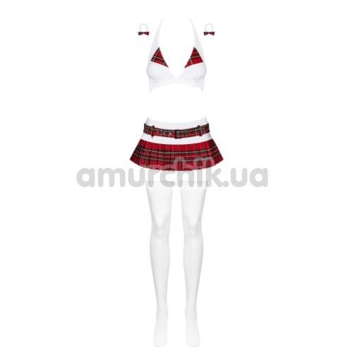 Костюм школьницы Obsessive Schooly бордовый: топ + юбка + стринги + чулки + резинки для волос
