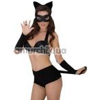 Комплект Catwoman, черный: шорты + бюстгальтер + маска + обруч с ушками + перчатки - Фото №1