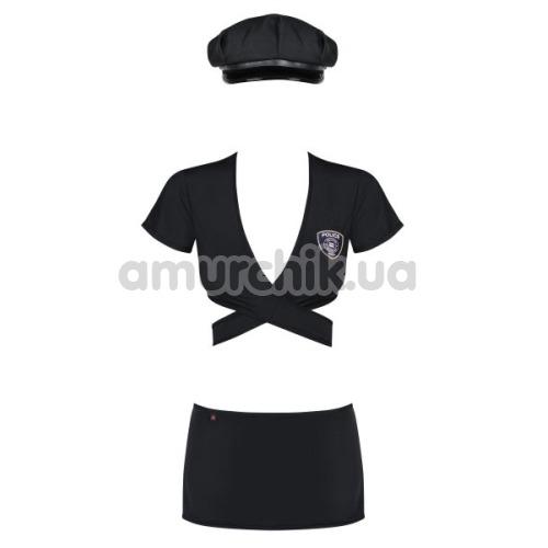 Костюм полицейской Obsessive Police Uniform, чёрный: топ + юбка + трусики-стринги + фуражка