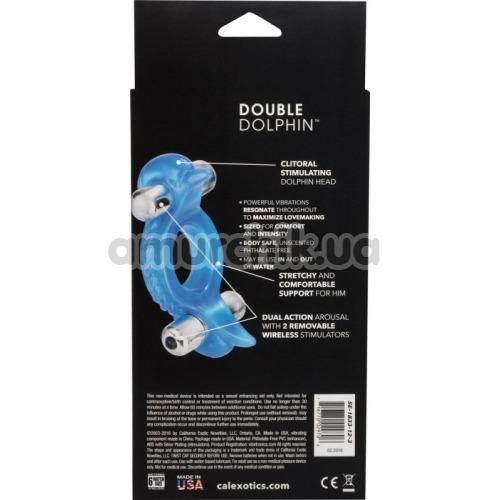 Виброкольцо Double Dolphin, голубое