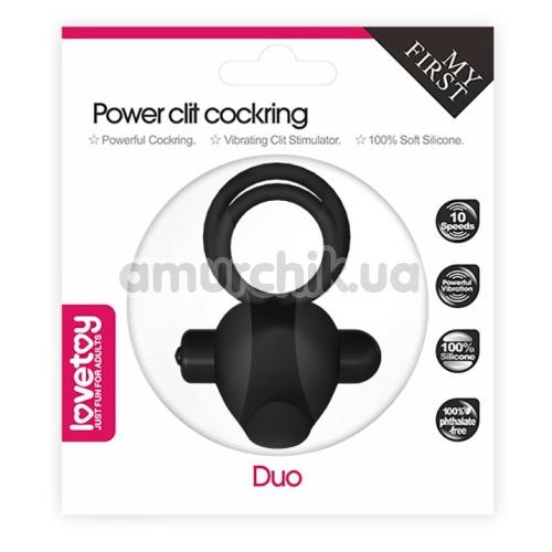 Виброкольцо Power Clit Cockring Duo, черное