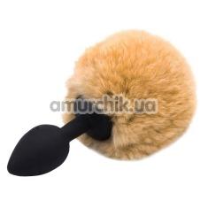 Анальная пробка с оранжевым хвостиком Honey Bunny Tail, черная - Фото №1
