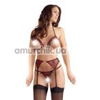 Комплект Abierta Fina Strapsset бордовый: бюстгальтер + трусики-стринги + пояс для чулок - Фото №1