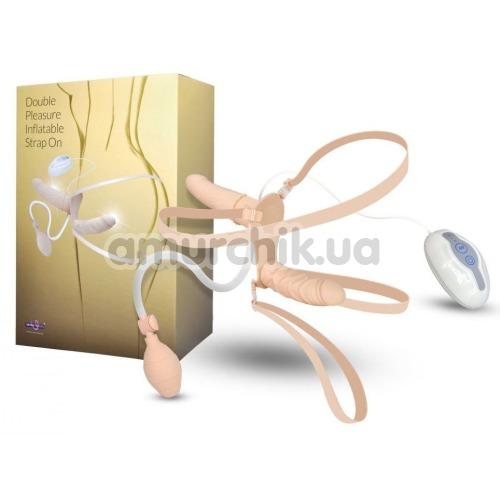 Двойной страпон с вибрацией Double Pleasure Inflatable Strap On, телесный