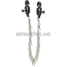 Зажимы для сосков с цепочкой и шипами Lucky Bay Nipple Play Chain and Spike, серебряные - Фото №1