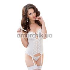 Комплект Dottie белый: корсет + трусики-стринги - Фото №1