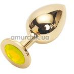 Анальная пробка с желтым кристаллом Swarovski, 9 см гладкая золотая - Фото №1
