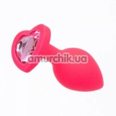 Анальная пробка с светло-розовым кристаллом Loveshop Seamless Butt Plug Heart S, розовая - Фото №1