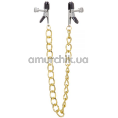 Зажимы для сосков с цепочкой Lucky Bay Nipple Play Gold Chain, золотые - Фото №1