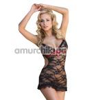 Комплект Agnese черный: комбинация + трусики-стринги - Фото №1