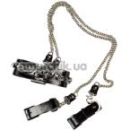 Ошейник с фиксаторами для рук DS Fetish Silver With Chain, черный - Фото №1