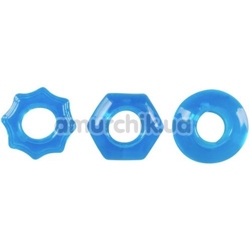 Набор эрекционных колец Stretchy Cock Ring Set, голубой