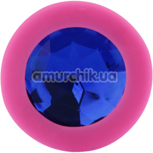 Анальная пробка с синим кристаллом SWAROVSKI Zcz, розовая