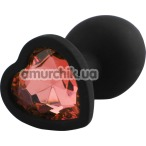 Анальная пробка с красным кристаллом Silicone Jewelled Butt Plug Heart Small, черная - Фото №1