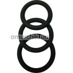 Набор из 3 эрекционных колец Malesation Cock Ring Set, черный - Фото №1