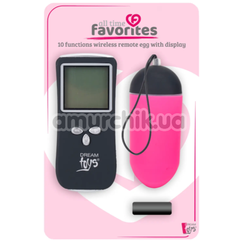 Виброяйцо All Time Favorites 10 Functions Wireless Remote Egg With Display, розовое