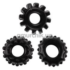 Набор из 3 эрекционных колец GK Power Gear Up Rings, черный - Фото №1
