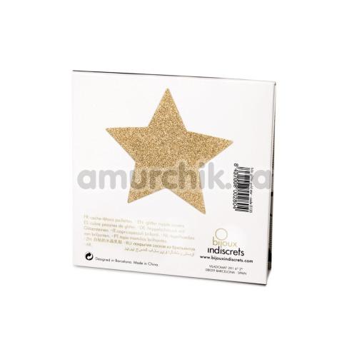 Украшения для сосков Bijoux Indiscrets Flash Glitter Pasties Star, золотые