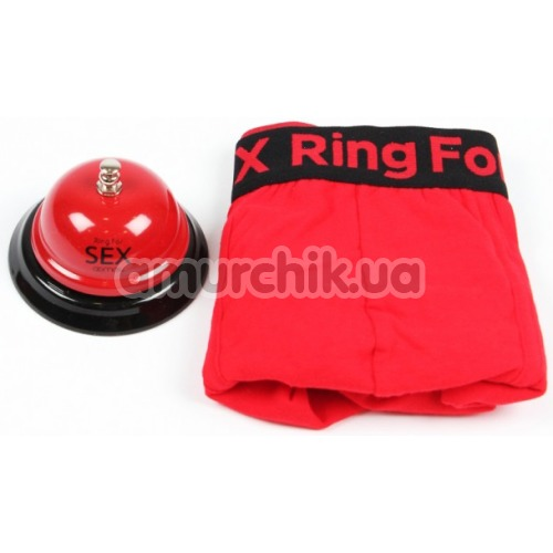 Комплект мужской Admas Ring for Sex красный: трусы + звонок