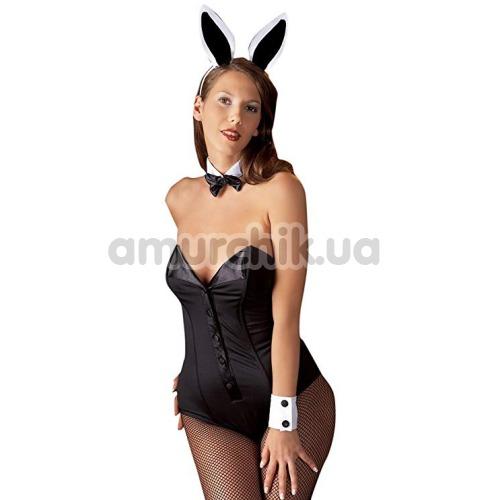 Костюм кролика Cottelli Collection 2470020 чёрный: боди + нарукавники + галстук-бабочка + ушки - Фото №1