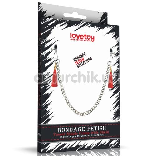 Зажимы для сосков LoveToy Bondage Fetish Tassel Nipple Clamp With Chain, красные