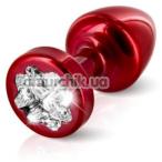 Анальная пробка с прозрачным кристаллом SWAROVSKI Anni R Clover T1, красная - Фото №1