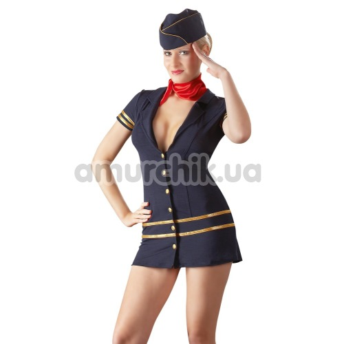 Костюм стюардессы Cottelli Collection Costumes 2470314 синий: платье + шапочка + шарфик - Фото №1