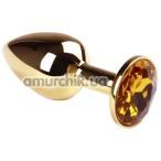 Анальная пробка с желтым кристаллом SWAROVSKI Gold Citrine Small, золотая - Фото №1