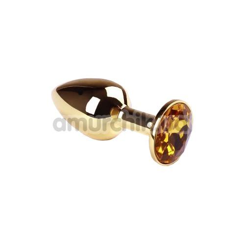 Анальная пробка с желтым кристаллом SWAROVSKI Gold Citrine Small, золотая