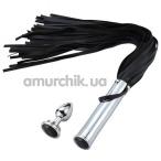Набор из 2 предметов PU Leather Whip With Anal Plug, чёрный - Фото №1
