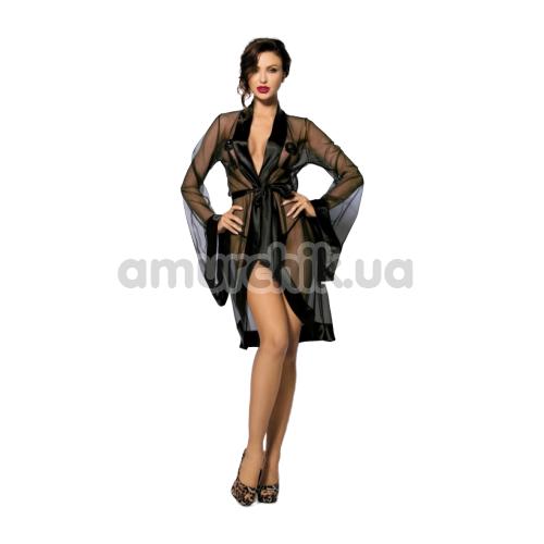 Комплект ANS Anthis чёрный: пеньюар + трусики-стринги