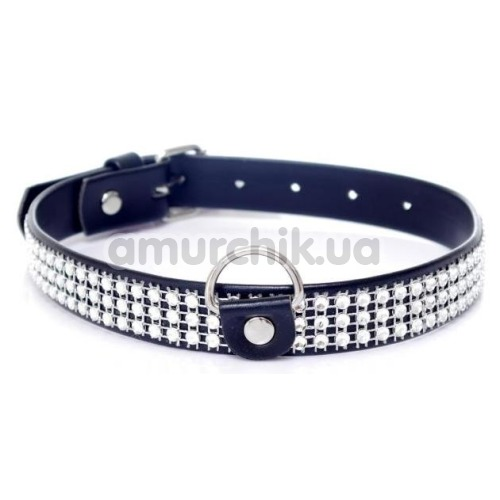 Ошейник Boss Series Fetish Collar With Crystals, черный - Фото №1