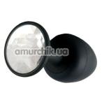 Анальная пробка с прозрачным кристаллом Dorcel Geisha Plug М, черная - Фото №1